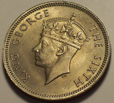 British Hong Kong, 1951 George VI Fifty Cents, 50 Cents. 15,000,000 Mintage.