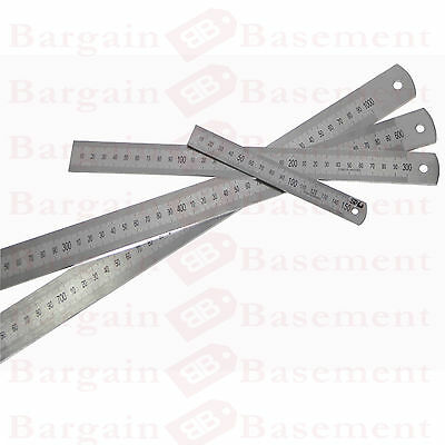"12"" & 6"" Stainless Steel Ruler Metal Rule Dual Double Markings Metric & Imperial"
