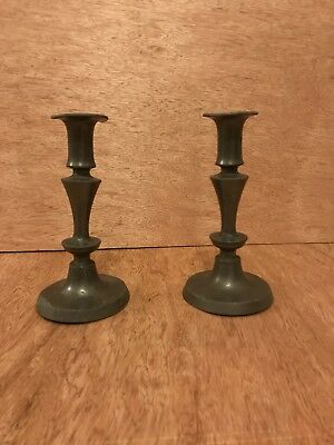 Pair Of Early Antique English Pewter Push Up Candlesticks