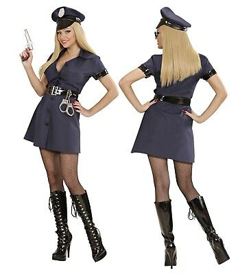 Polizistin Kostum Police Girl Uniform Damen Kleid Hut Gurtel
