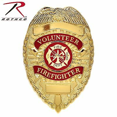 Rothco Deluxe Gold Volunteer Firefighter Fire Department Badge