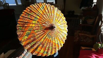 Vintage Parasol, Rice Paper & Bamboo Bright Floral Design in Orange,Yellow,Green