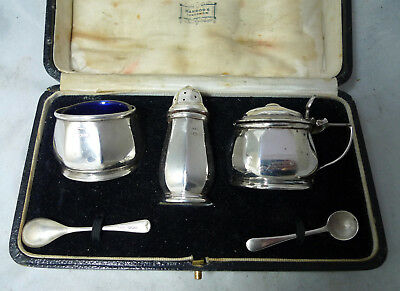 Harrods Art Deco Silver Condiment Set Docker & Burn Birmingham 1931 76g A641517