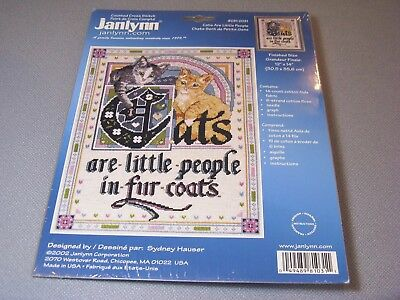 2002 Janlynn 081-0031 Cats Little People With Fur Coats Sealed Cross Stitch KIT