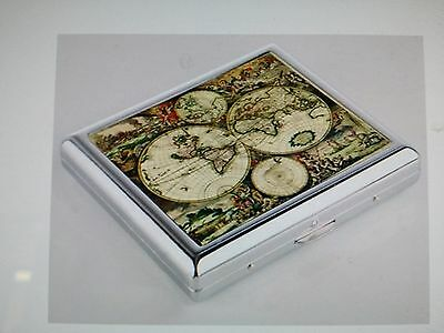 Vintage Antique Orbis World Map 01 & 02 Small Silver Cigarette Case Card Holder