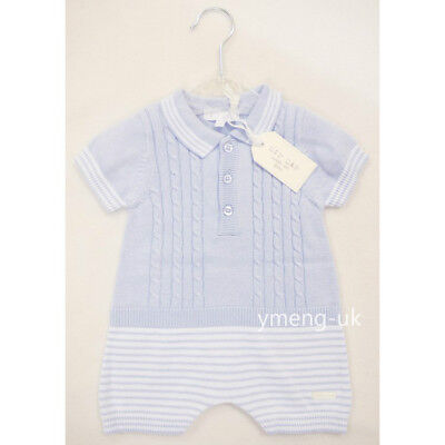 *SS18* Stunning Zip Zap Baby Boy's Blue Cable Knit Strip Bottom Romper