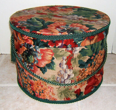 """HAT BOX Fabric Covered ~ ORIGINAL ROPE ~ 12 1/2"""" Diam. 8 3/4"""" Tall~The Bombay Co"""