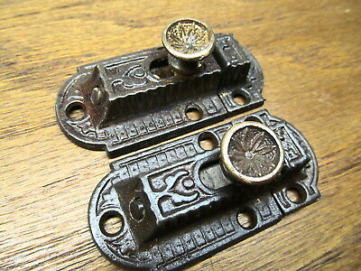 Small Pair Old Cupboard Latches...brass ? Bronze ? Knobs...ornate