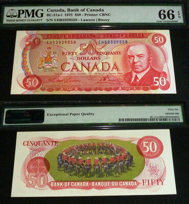 """Pmg 66 Gem Uncirculated  Bank Of Canada 1975 $50 """"the Canadian Red  Banknote"""""""