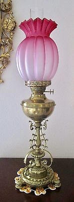 "Antique English ""Messenger"" Parlor Oil Lamp, Brass / Cranberry Shade 27""tall"