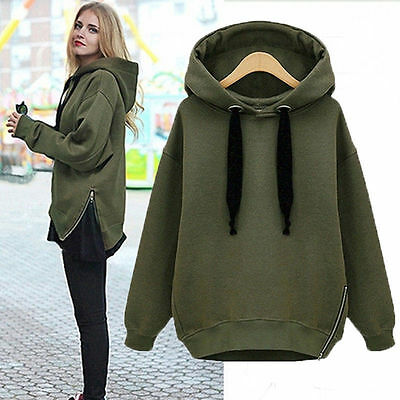UK Womens Ladies Casual Loose Hoodies Jumper Sweater Sweatshirt Pullover Tops