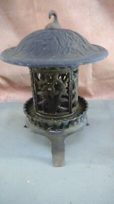 Vintage Cast Iron Hanging Lantern Candle Holder Tall 14 inches
