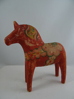Vintage Folk Art Dala Wood Horse Not Dipped Hand Painted Figurine Sweden