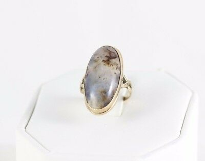 14k Gold Moss Agate Ring Antique Victorian Art Deco Size 4 3/4