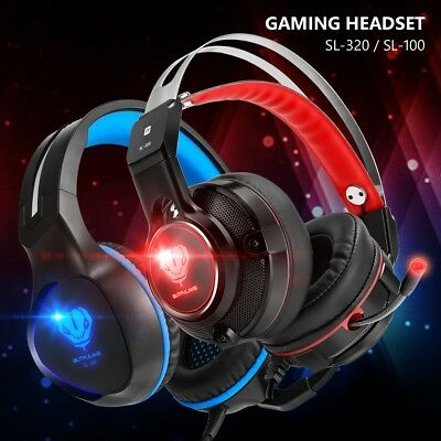 3.5mm Game Headset Gaming Headphone Steel Headband With Stereo Bass LED Mic AE5