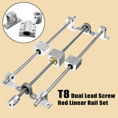 Horizontal 350mm T8 Dual Rail Lead Screw Rod Linear Coupling Support Guide Set