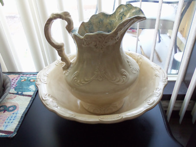Vintage Water Pitcher and wash Bowl / Basin - cream with blue speckle