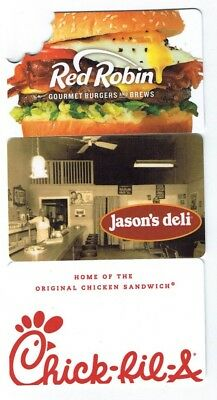 Collectible Gift Card Lot of 3 FOOD Chick-Fil-A,Red Robin,Jason's Deli -NO $ VAL