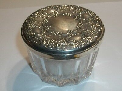 """Towle Sterling Lidded """"old Master"""" Powder Jar W/ Mirror Puff Screen Label On Lid"""