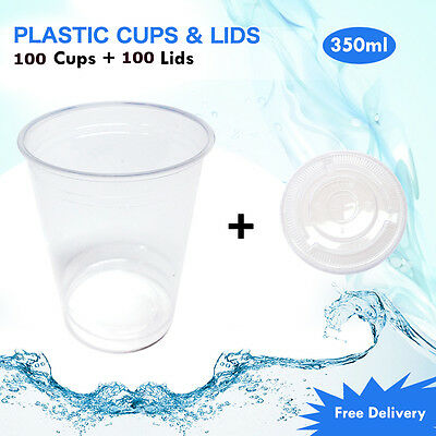 Disposable Plastic Cups + Lids Reusable Drinking Water Party Cup 350ml 100/Pk
