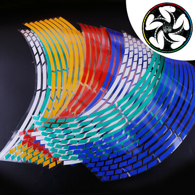 "16 Strips Reflective Motorcycle Car Wheel Rim Stripe Tape Decal Stickers 17""-19"""