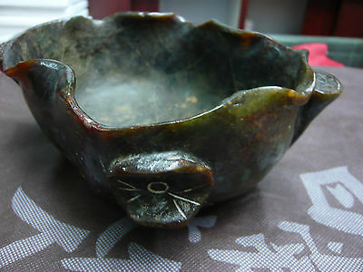 Chinese Antique Old Jade Lotus Flower&Root Love Symbol Bowl Statue Huge Carving