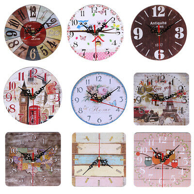 Vintage Wooden Wall Time Clock Shabby Chic Rustic Kitchen Home Antique Decor