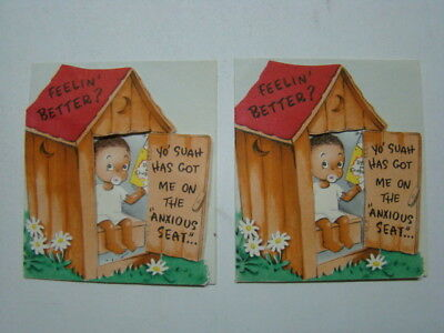 (2) Racist Black Americana Out House Catalog Toilet Paper Greeting Cards 1950's