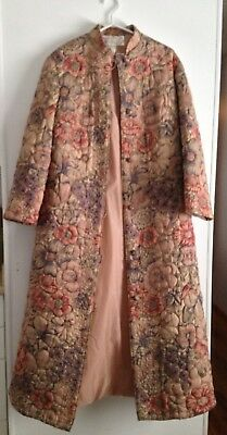 Vintage Women's Chinese Style Quilted Lined Coat circa 1970's, Size L fits small
