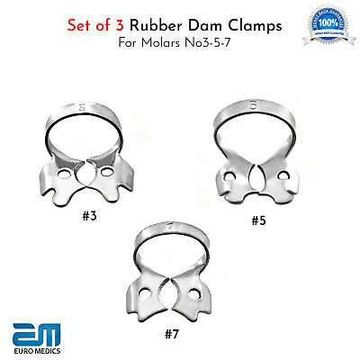Set Of 3 Dental Rubber Dam Clamps For Molars Restorative Endodontic Placement CE