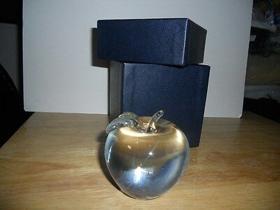 Crystal Clear Glass Apple Solid Paperweight Etched 2008 Global New York Partners
