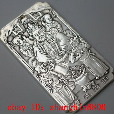 old tibetan tibet silver God of wealth Amulet plate