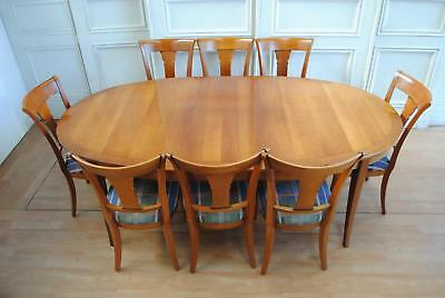 Elegant GRANGE FRANCE Cherrywood Extension Dining Table & 8 Chairs
