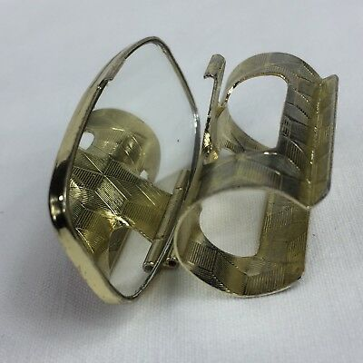 Vintage 1970's Gold Tone Lipstick Holder Mirror Round Ring Clip Made in Japan