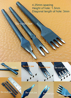 3pcs  4.25mm Leather Craft Stitch Diamond Lacing Chisel Pricking Iron Punch Tool