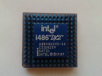 Intel A80 486Dx2-66 Cpu + Heat Sink. 168 Pin. 1989. In Good Condition.