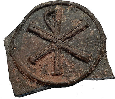400-600AD  Authentic Ancient Byzantine Era Christian CHI-RHO Shard Seal i66814