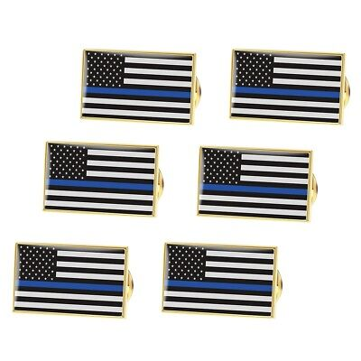 BESTOMZ Thin Blue Line American Flag Pin Police Lapel Pin Pack of 6 High Quality