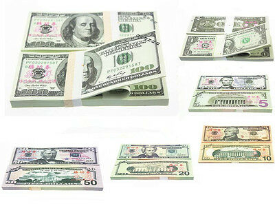 100PCS USD $1,2,50,100 Dollars Play Money Training Banknotes Practice Fake Bills