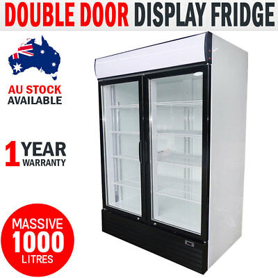 NEW 1000L Drinks Display Fridge Commercial Upright Double Door Beer Refrigerator