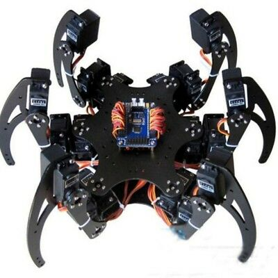 1Set Black Six Legs Alum Alloy Hexapod Spider Robot Frame Kit DIY for Ard Dudj