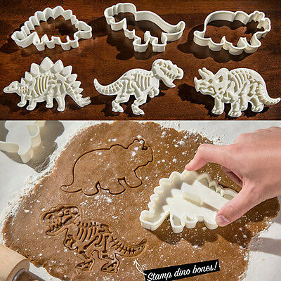Home 6PCS Plastic Dinosaur Cookies Cutter .Biscuit Pastry Cake Fondant