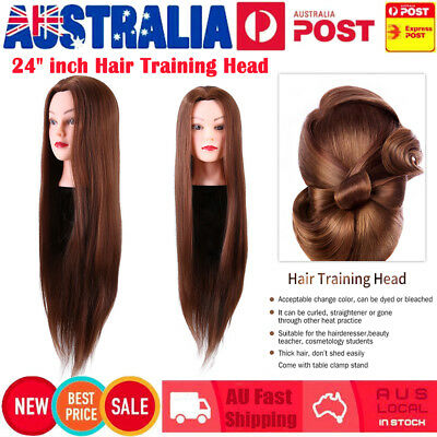 "24"" inch Hair Practice Hairdressing Training Head Mannequin Doll + Clamp AU"