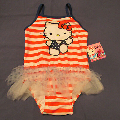 NWT Hello Kitty Girl 's Swimsuit Bathing Suit 5T One-Piece Red Navy White New