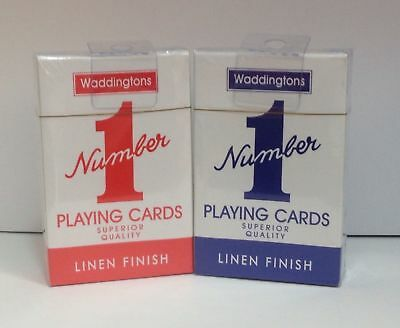 Waddingtons Number 1 Linen Finish Quality Playing Cards Deck In Red & Blue Color