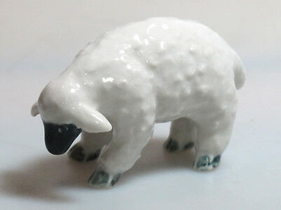 Ceramic Porcelain Sheep Figurine Hand Painted Miniature Collectible