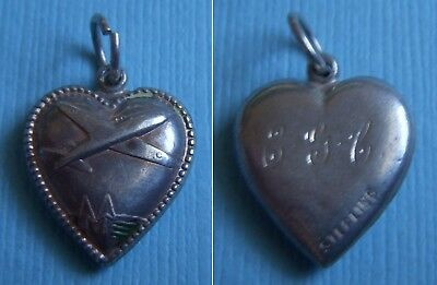 "Vintage airplane puffy heart ""E.G.C."" sterling charm"