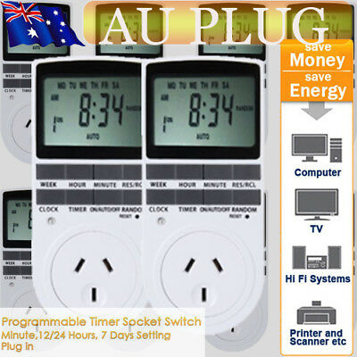 10xAU LCD Programmable Digital Electronic Plug in Power Socket Timer Switch 240V