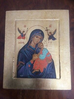 Russian icon,signed hand painted and gilded with seal.