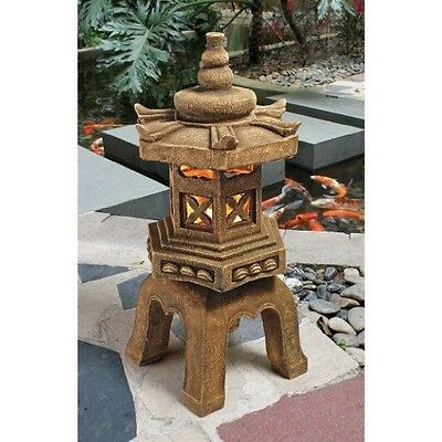 Japanese Pagoda Statue Lantern Garden LED East Asian Indoor Outdoor Patio Decor